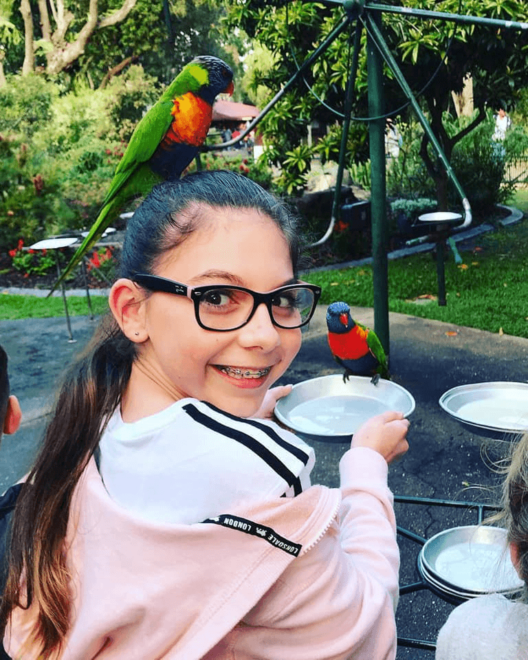 the kids and parrot