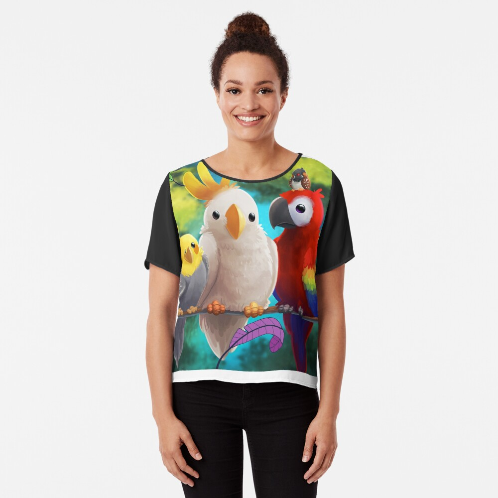 Parrot Lovers Gifts macaw parrot cockatoo, Budgerigar, cockatiel Chiffon Top